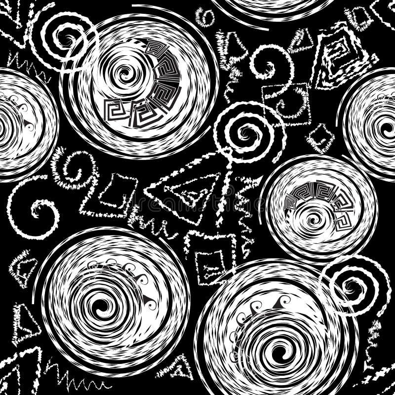 白垩乱画希腊样式无缝的样式 传染媒介抽象geome 库存例证