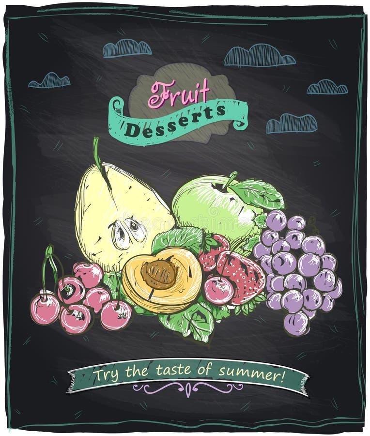 白垩健康食物果子菜单 向量例证