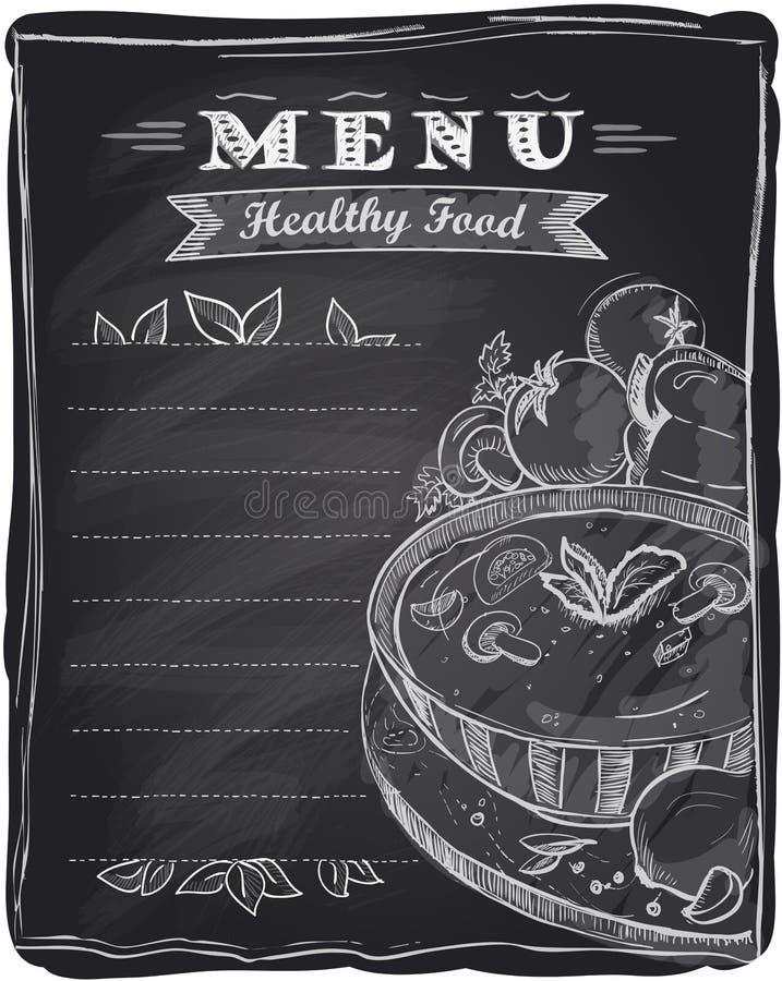 白垩健康食物菜单。 库存例证
