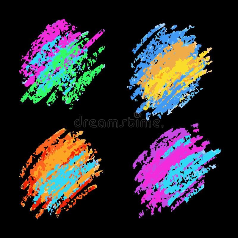 白垩和煤炭纹理  传染媒介刷子冲程 软的淡色 Grunge模式 图库摄影