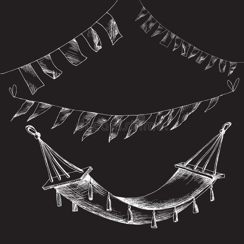 白垩手图画 一次野餐式乱画的元素在黑委员会背景 夏天套旗子诗歌选和a 皇族释放例证