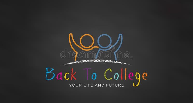 白垩的学校学生 回到学院的黑人委员会 向量 向量例证