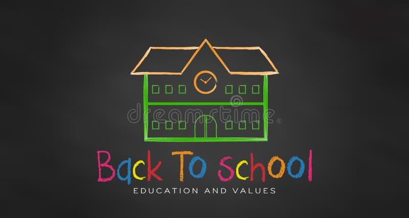 白垩的学校 回到学校的黑人委员会 向量 库存例证