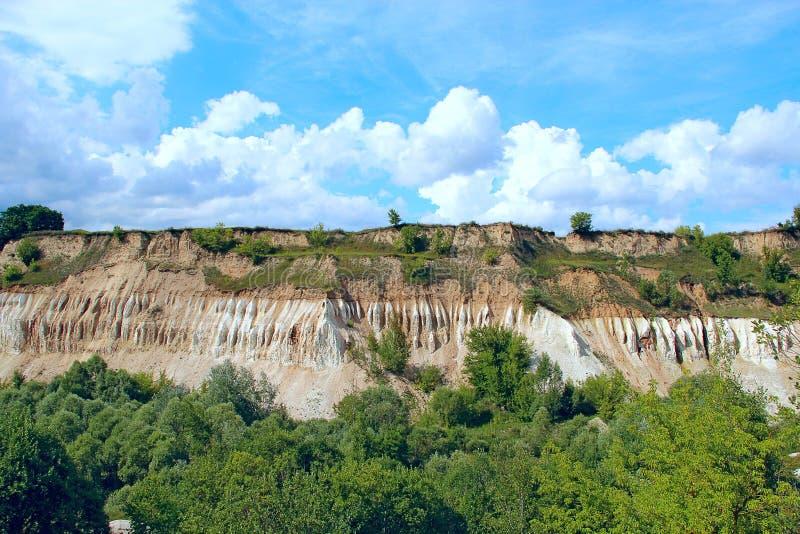 白垩纪猎物 与含沙峭壁和美丽的天空的风景 免版税库存照片