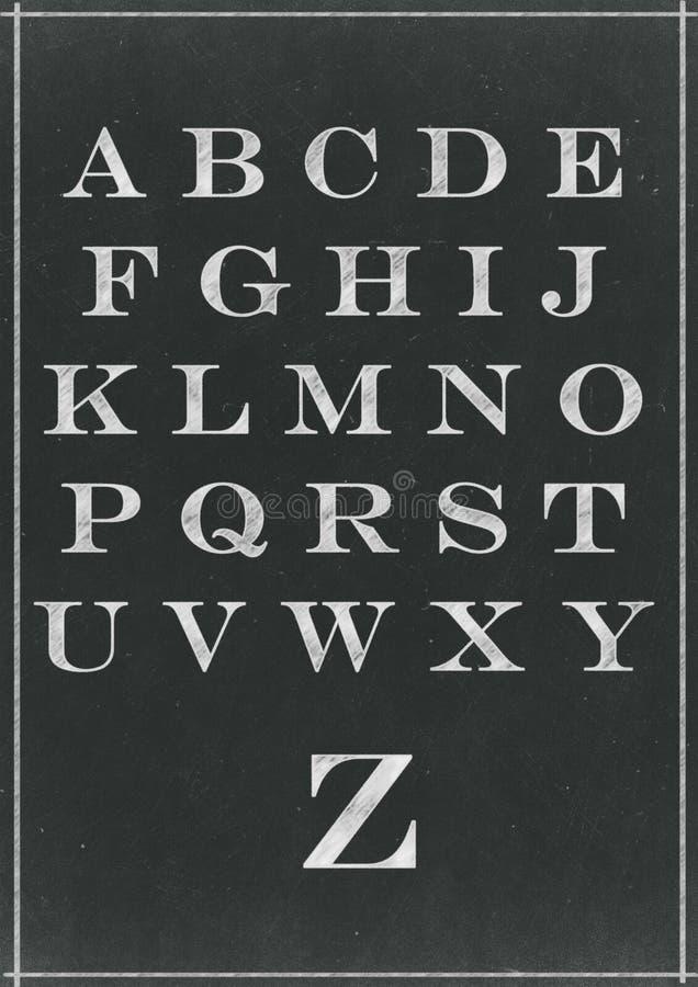 白垩速写了字母表字符 皇族释放例证