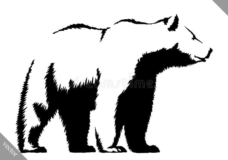 黑白墨水凹道熊传染媒介例证 免版税库存照片