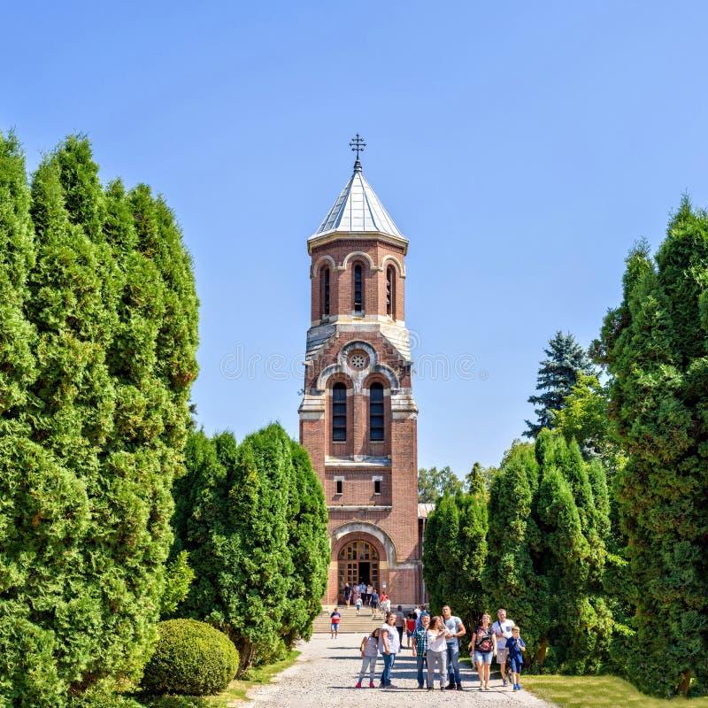 白天对路的画象视图向大教堂 免版税库存图片