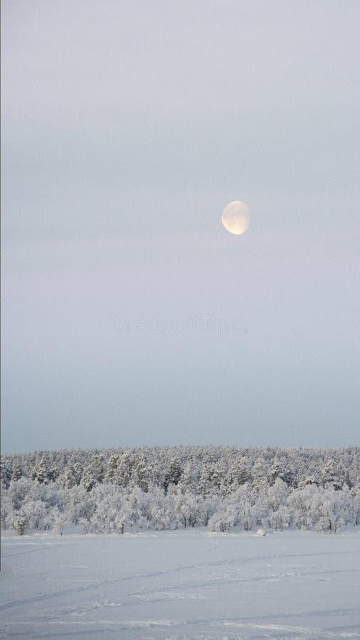 白天月亮,在早晨天空上升在冻湖 图库摄影