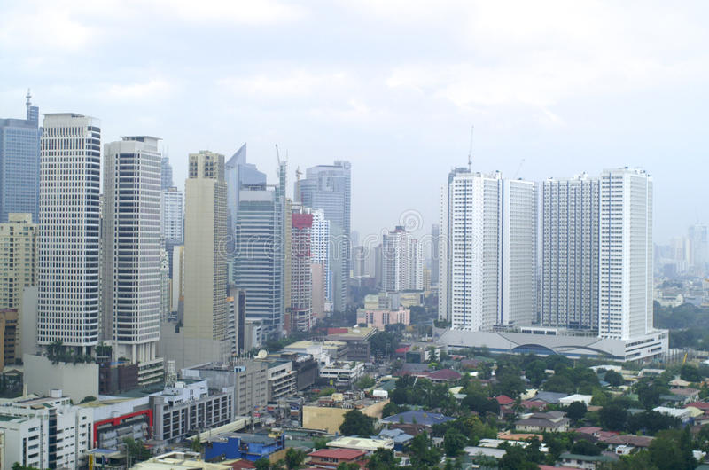白天看法在从旅馆上面的马尼拉  免版税库存照片