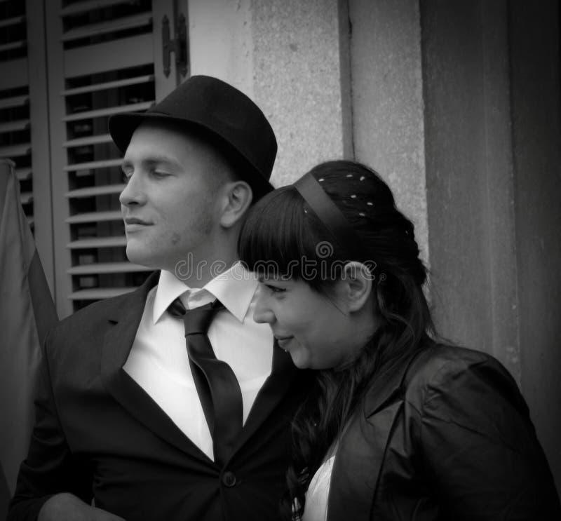 黑白婚礼 免版税图库摄影