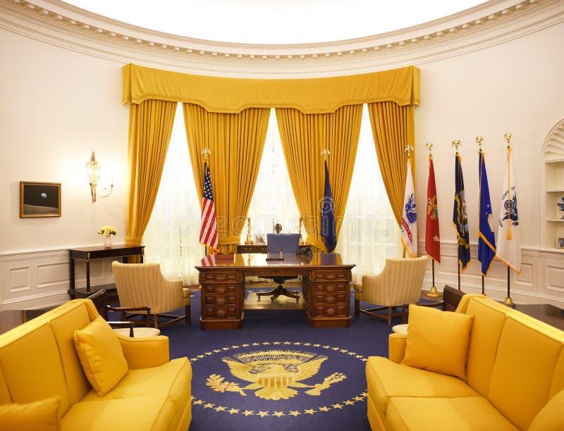 白宫椭圆形办公室尼克松图书馆 库存图片