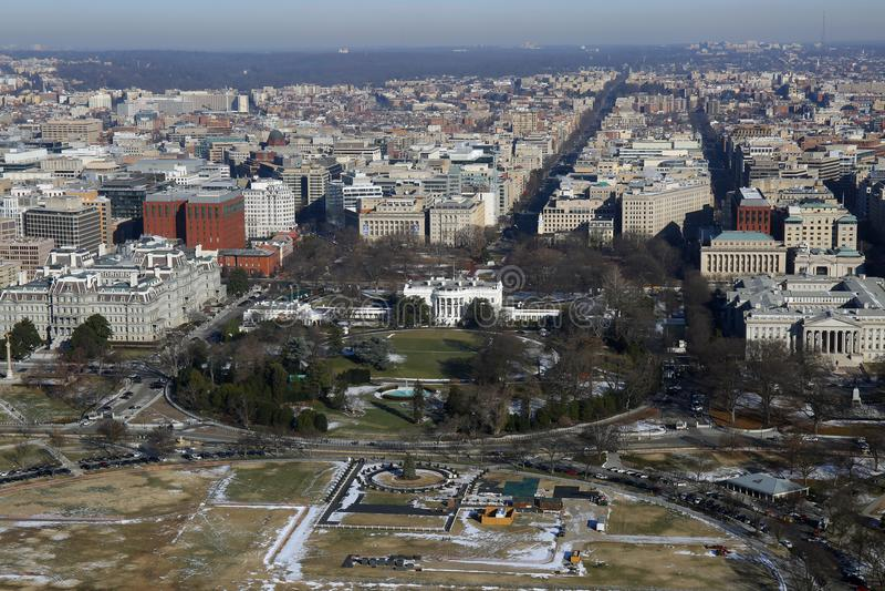 白宫鸟瞰图,华盛顿特区 免版税库存图片
