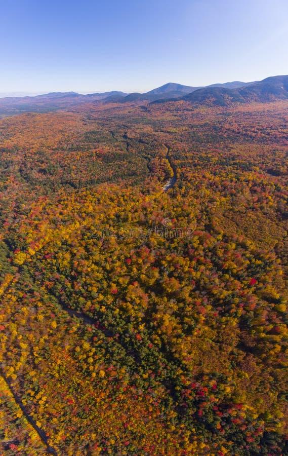 白山国家森林航空视图,美国新罕布什尔 免版税库存照片