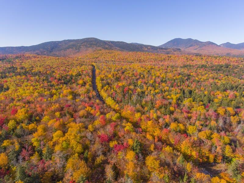 白山国家森林航空视图,美国新罕布什尔 库存照片