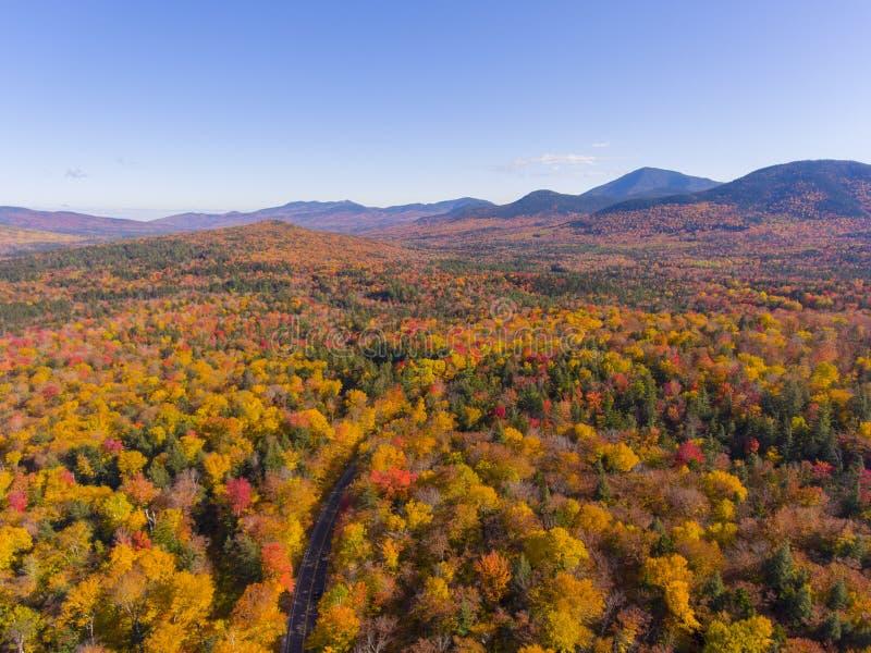白山国家森林航空视图,美国新罕布什尔 免版税图库摄影