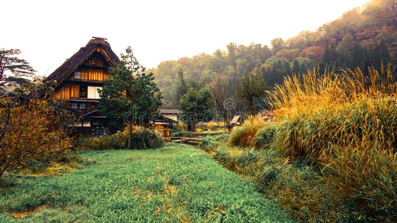 白川町在日本去村庄 免版税库存照片