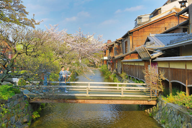 白川町minami Dori在京都,日本 免版税库存照片