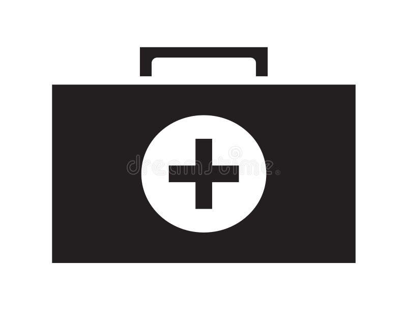 黑白急救工具象传染媒介隔绝了白色背景 向量例证