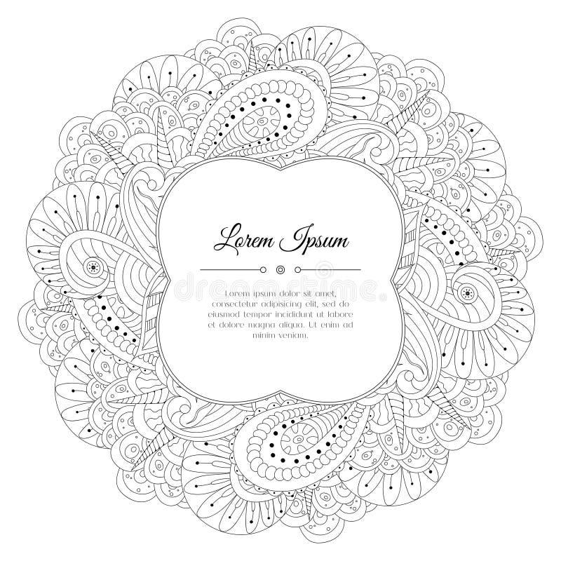 黑白手拉的花卉乱画框架 皇族释放例证