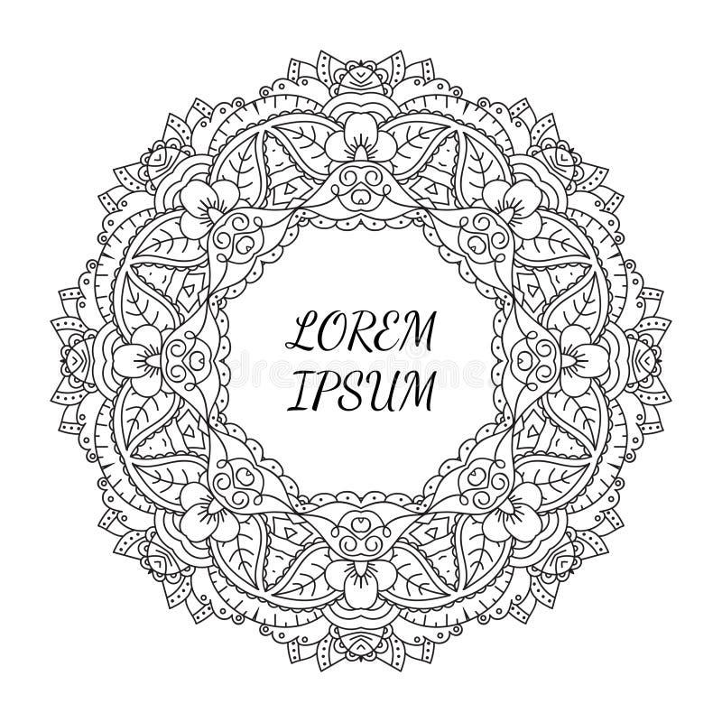 黑白手拉的花卉乱画框架 库存例证