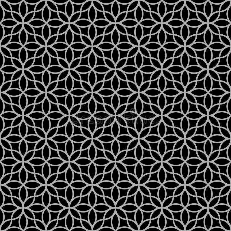 黑白抽象花卉无缝的样式 库存例证