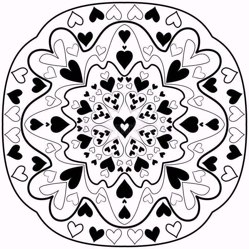 黑白抽象Zentangle心脏坛场 向量例证