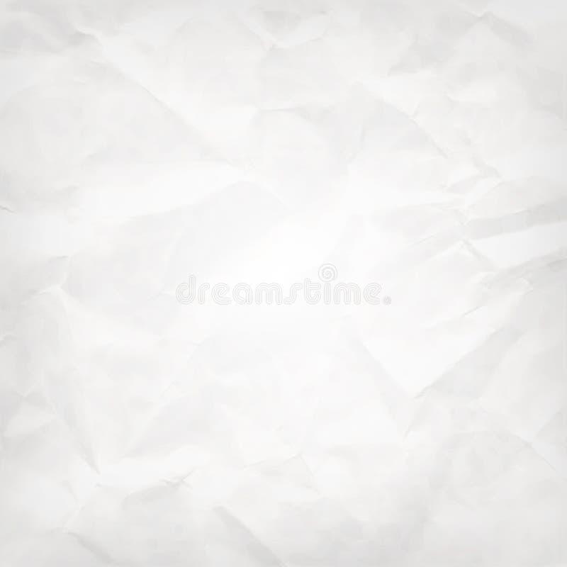 白方块摘要传染媒介背景--被弄皱的组装纸纹理 向量例证