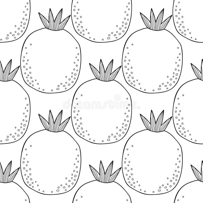 黑白无缝的样式用彩图的石榴 切的背景剪切果子半菠萝 皇族释放例证