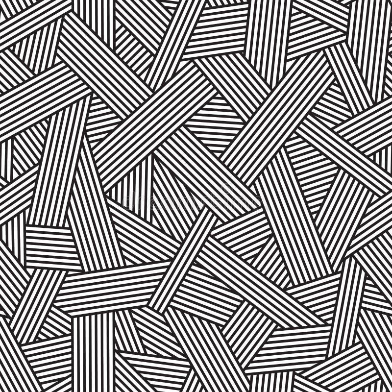 黑白无缝的样式,与交织的线的几何背景, 向量例证