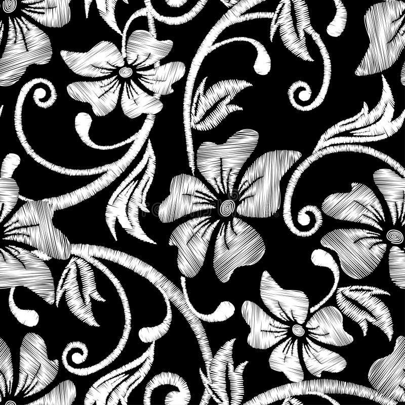 黑白木槿热带刺绣花卉无缝的轻拍 向量例证