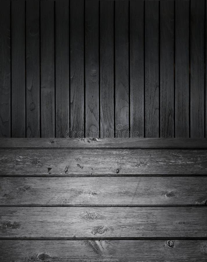 黑白木背景 免版税库存图片