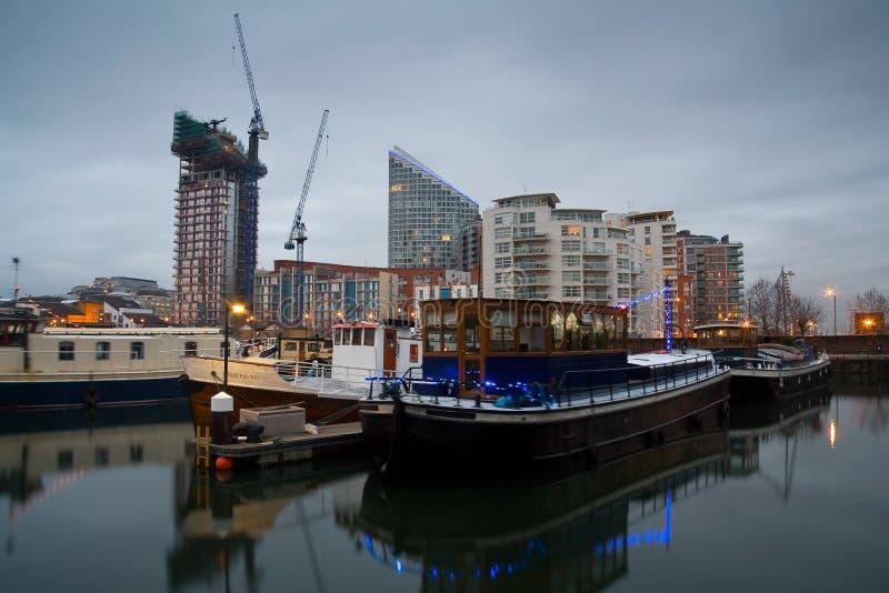 白杨树船坞小游艇船坞,伦敦 图库摄影