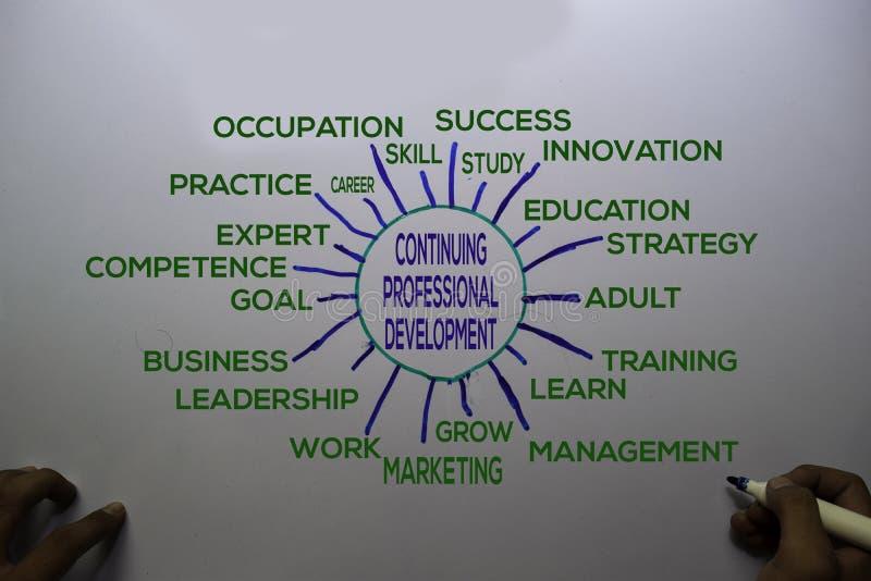 """白板背景中带有关键字的""""继续专业发展""""文本 图表或机构概念 免版税库存图片"""