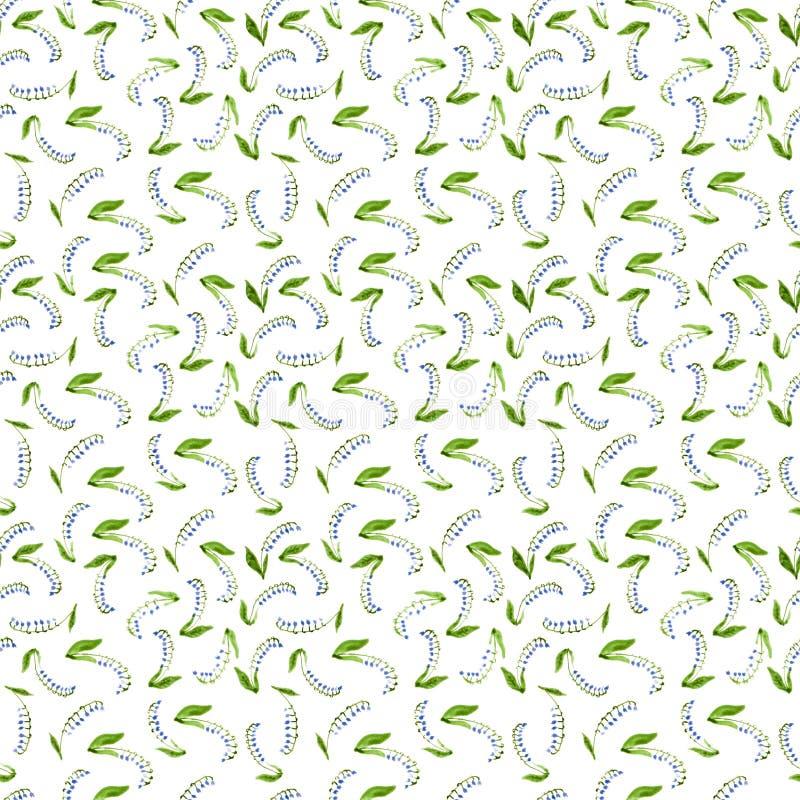 白棉布水彩铃兰样式 库存例证