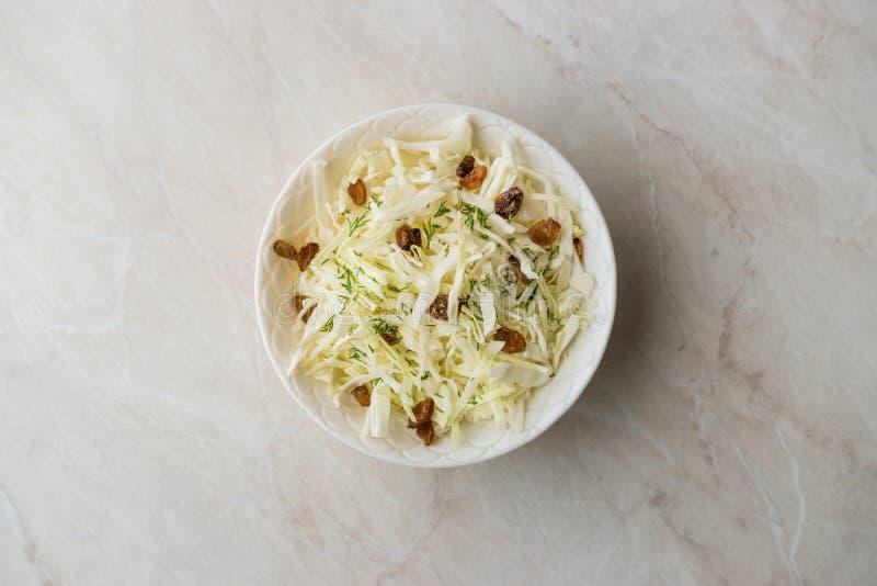 白椰菜沙拉德国泡菜用干葡萄干和莳萝 库存图片