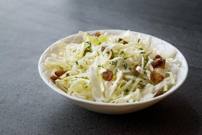 白椰菜沙拉德国泡菜用干葡萄干和莳萝 免版税图库摄影