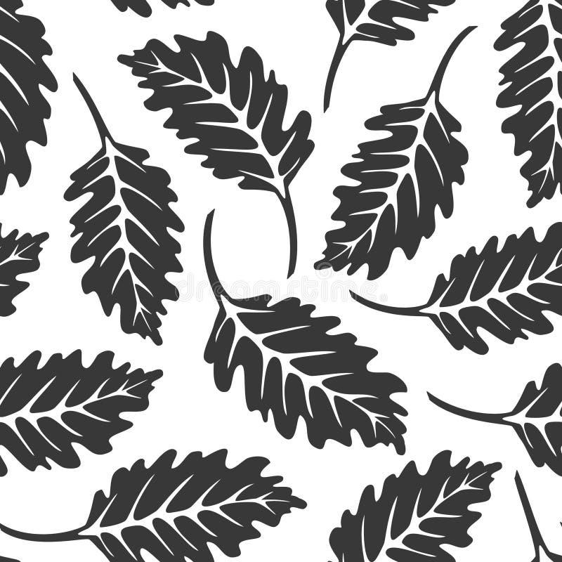 黑白橡木叶子无缝的样式 库存例证