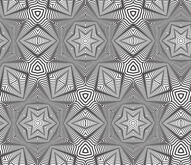 黑白欧普艺术设计传染媒介无缝的样式背景 库存例证