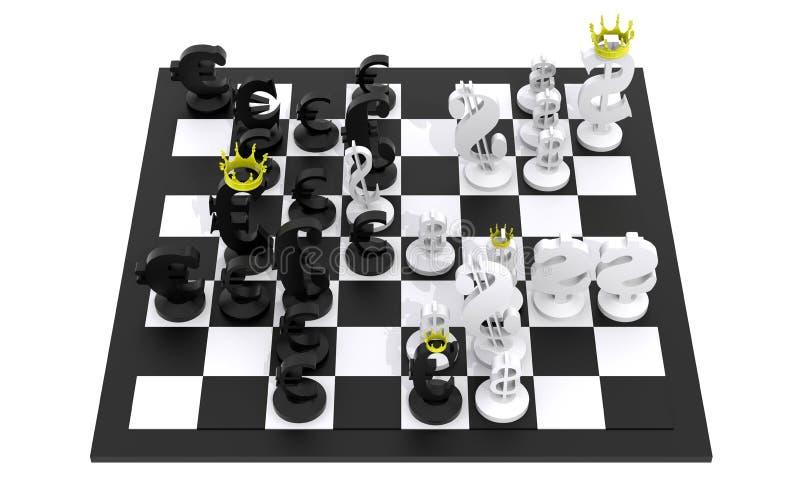 黑白欧洲美元的下棋比赛 向量例证