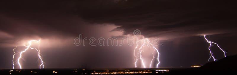 白沙导弹试验场闪电风暴 免版税库存图片