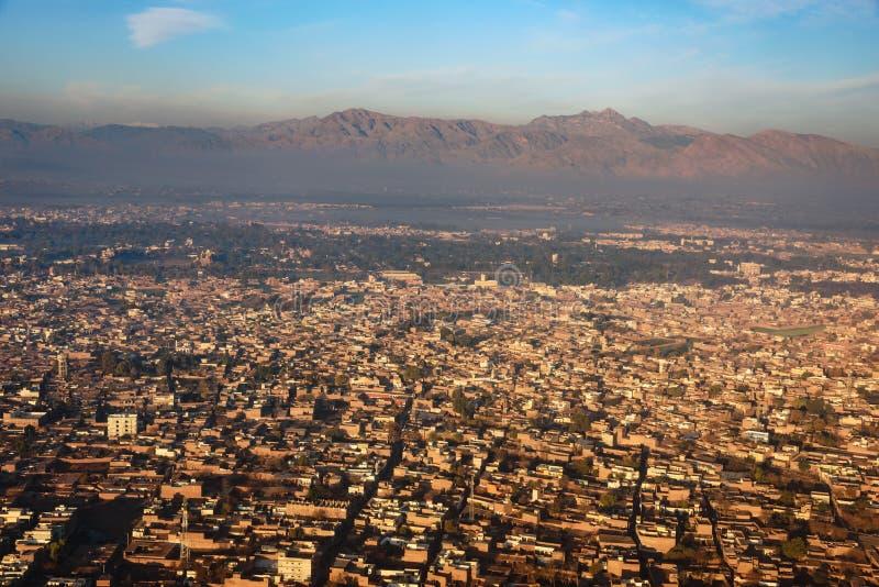 白沙瓦,巴基斯坦鸟瞰图  图库摄影