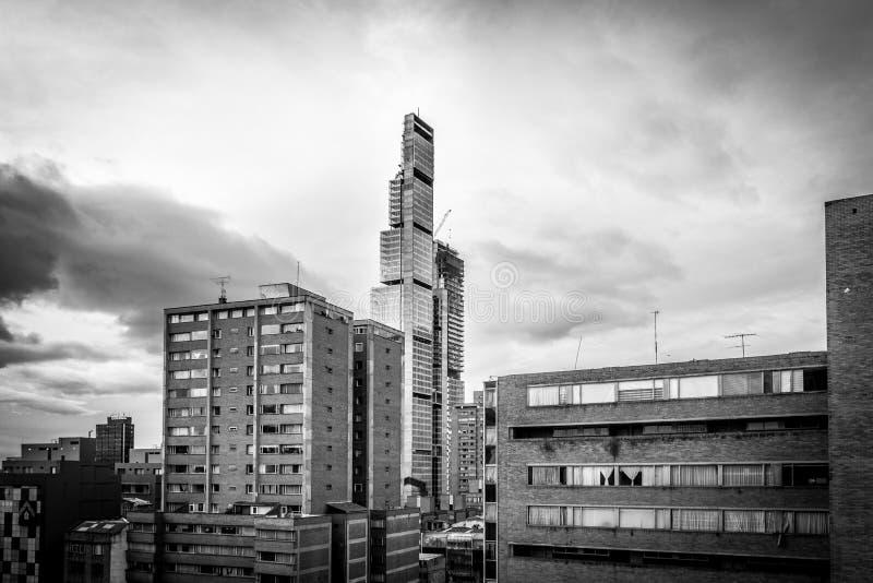 黑白波哥大地平线-波哥大,哥伦比亚 免版税图库摄影