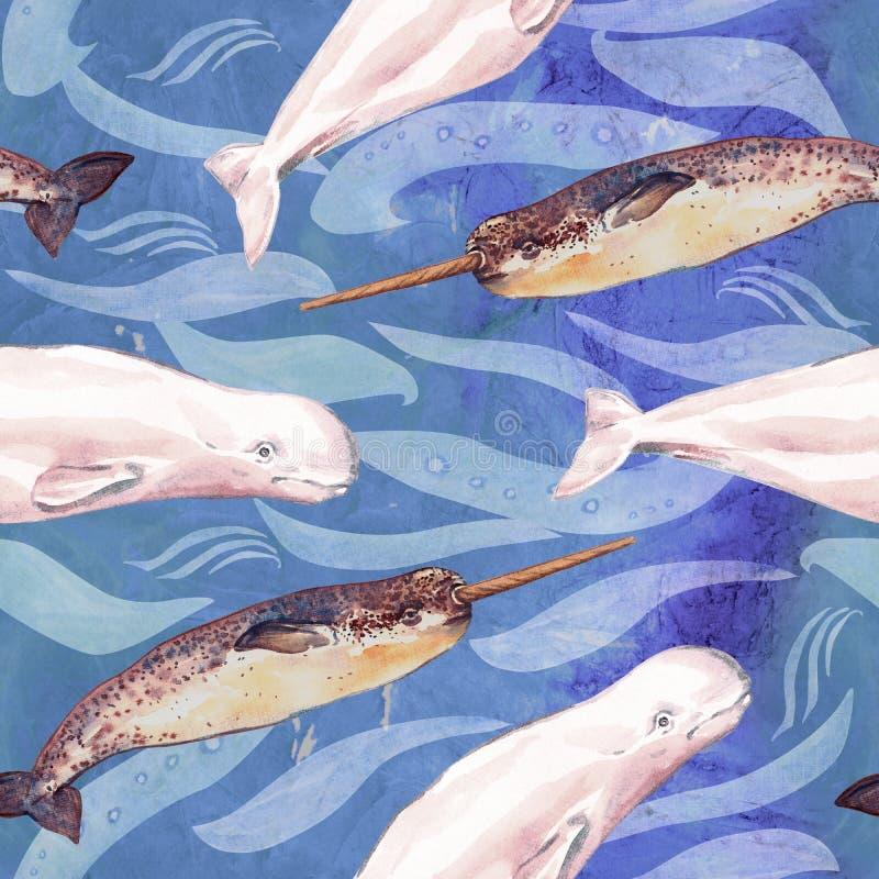 白海豚和Narwhal,手画水彩例证,蓝色海洋表面上的无缝的样式与波浪 皇族释放例证