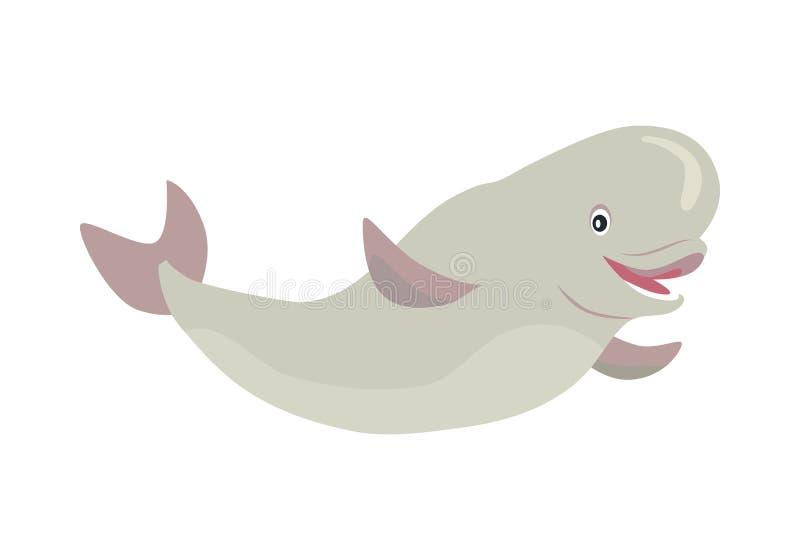 白海豚鲸鱼动画片平的传染媒介例证 皇族释放例证