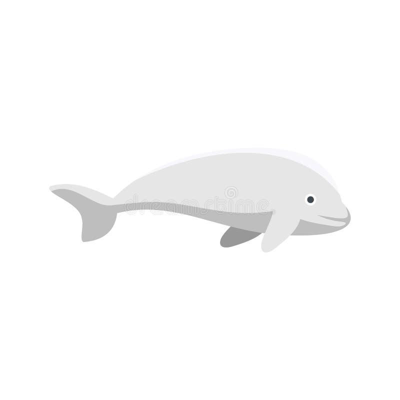 白海豚鲸鱼象,平的样式 向量例证