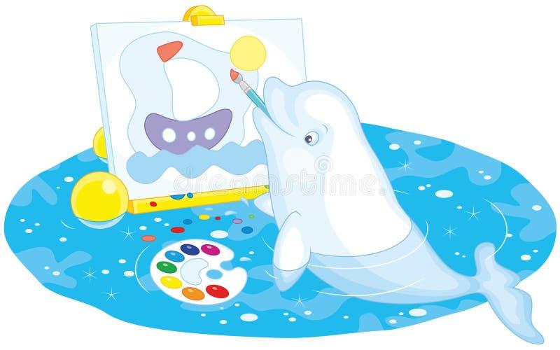 白海豚鲸鱼画家 向量例证
