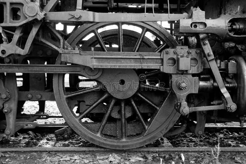 黑白火车轮子 免版税库存照片