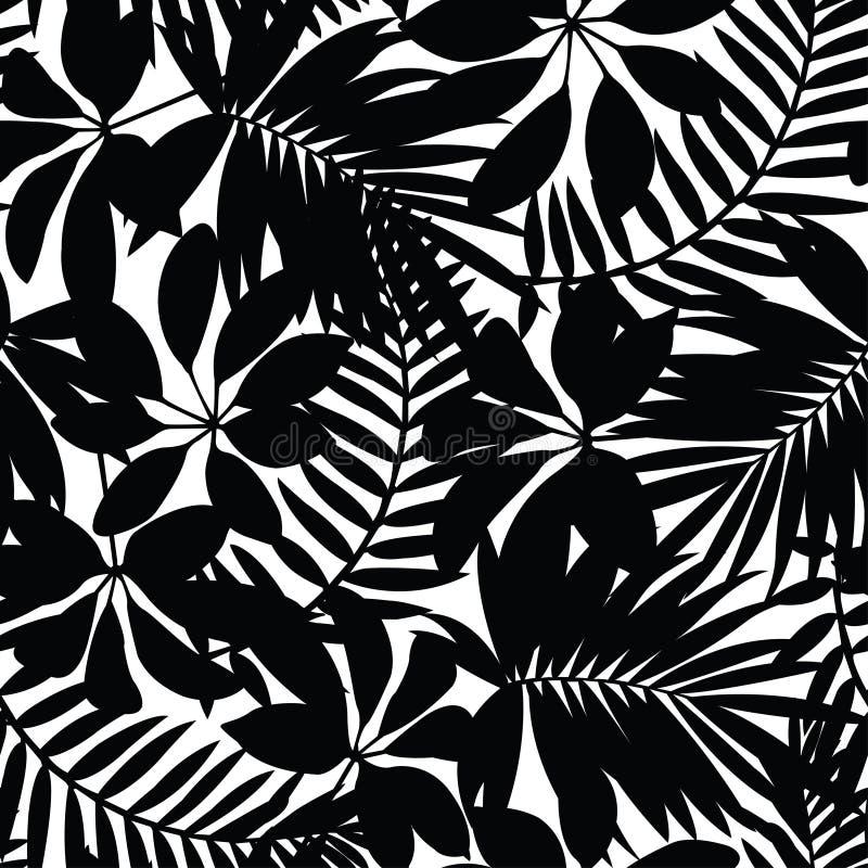 黑白热带叶子无缝的样式 库存例证
