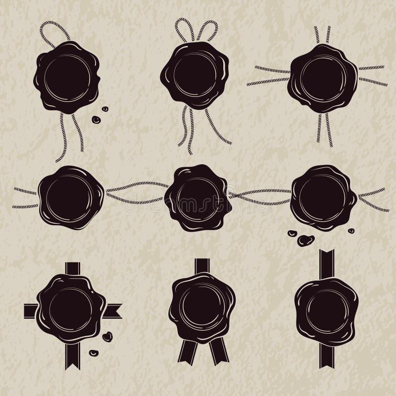 黑白照片套蜡封印 传染媒介在白色背景的例证孤立 库存例证