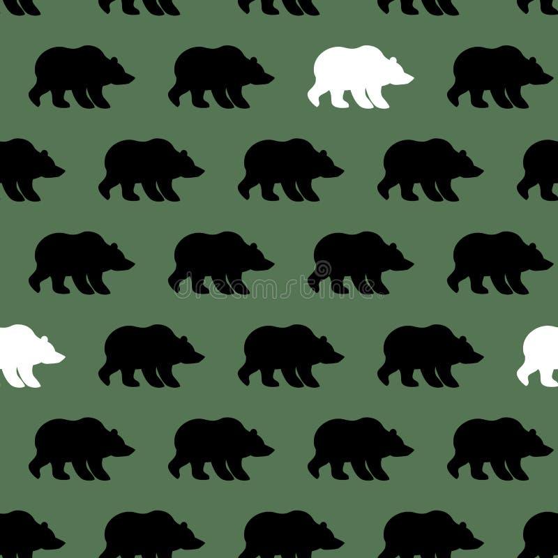 白熊和北美灰熊无缝的样式 向量例证